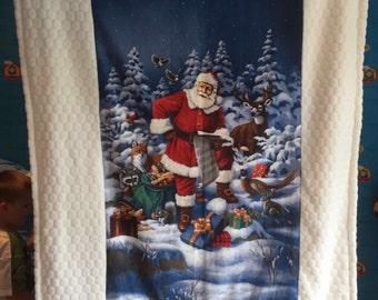 Heavy weight reversible fleece christmas throw/ blanket