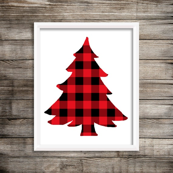 8x10 red buffalo plaid christmas tree printable and instant
