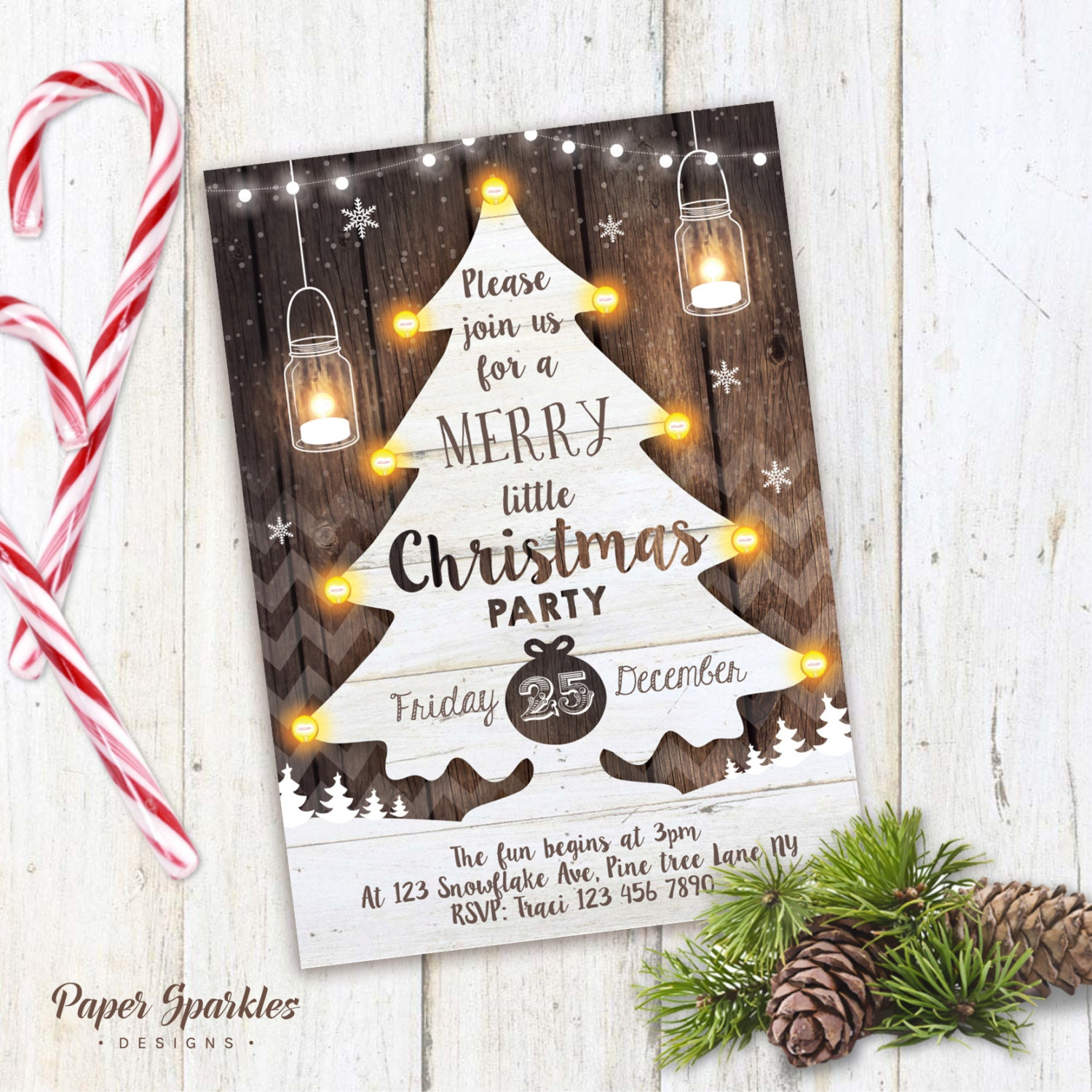 Christmas Holiday Party: Christmas Party Invitation Rustic Christmas Invite Mason Jar