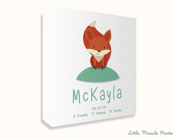 McKayla, Fox, Canvas Print, Baby Decor, Baby Monogram Art, Birth, Digital Print, Custom Birth Print, Baby Shower [N6G546C]