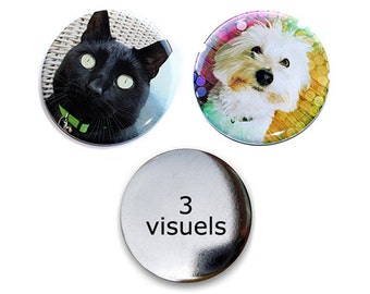 Lot of 3 rounds magnets 56 mm with your drawing, coloring, illustration, message, photo... what you want