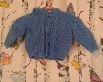 Boys Hooded Cardigan, Baby Boy, Hand Knitted Hoody, Hand Knitted, Handmade