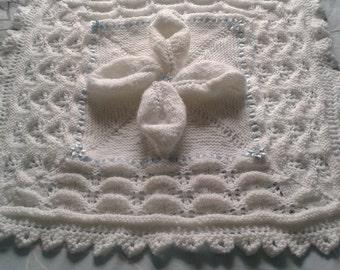 Leaf Pram Cover, Baby Pram Cover, Pram Blanket, New Baby, Baby Shower Gift, Handmade, Knitted Cover