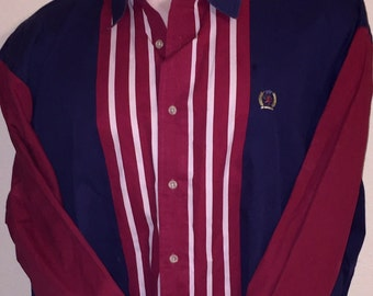 Vintage Tommy Hilfiger cotton long-sleeve shirt in deep red/navy, Sz XL