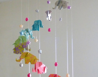 Mobile baby Elephants and stars origami