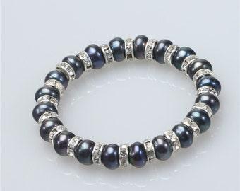 8-10mm dyed black pearl bracelet, Latest Pearl Bracelet Design, Wedding pearl bracelet