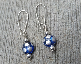 Blue and Silver Polka Dot Dangles