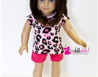 Special Sale American made Girl Doll Clothes, made to fit like American girl doll clothes, Cheetah Top and Hot Pink Shorts