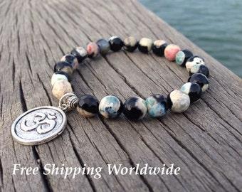 Energy Bracelet, Mala Bead Bracelet, Healing Bracelet, Yoga Bracelet, Om Bracelet, Mens Bracelet, Mala Bracelet, Agate Mala, Energy beads