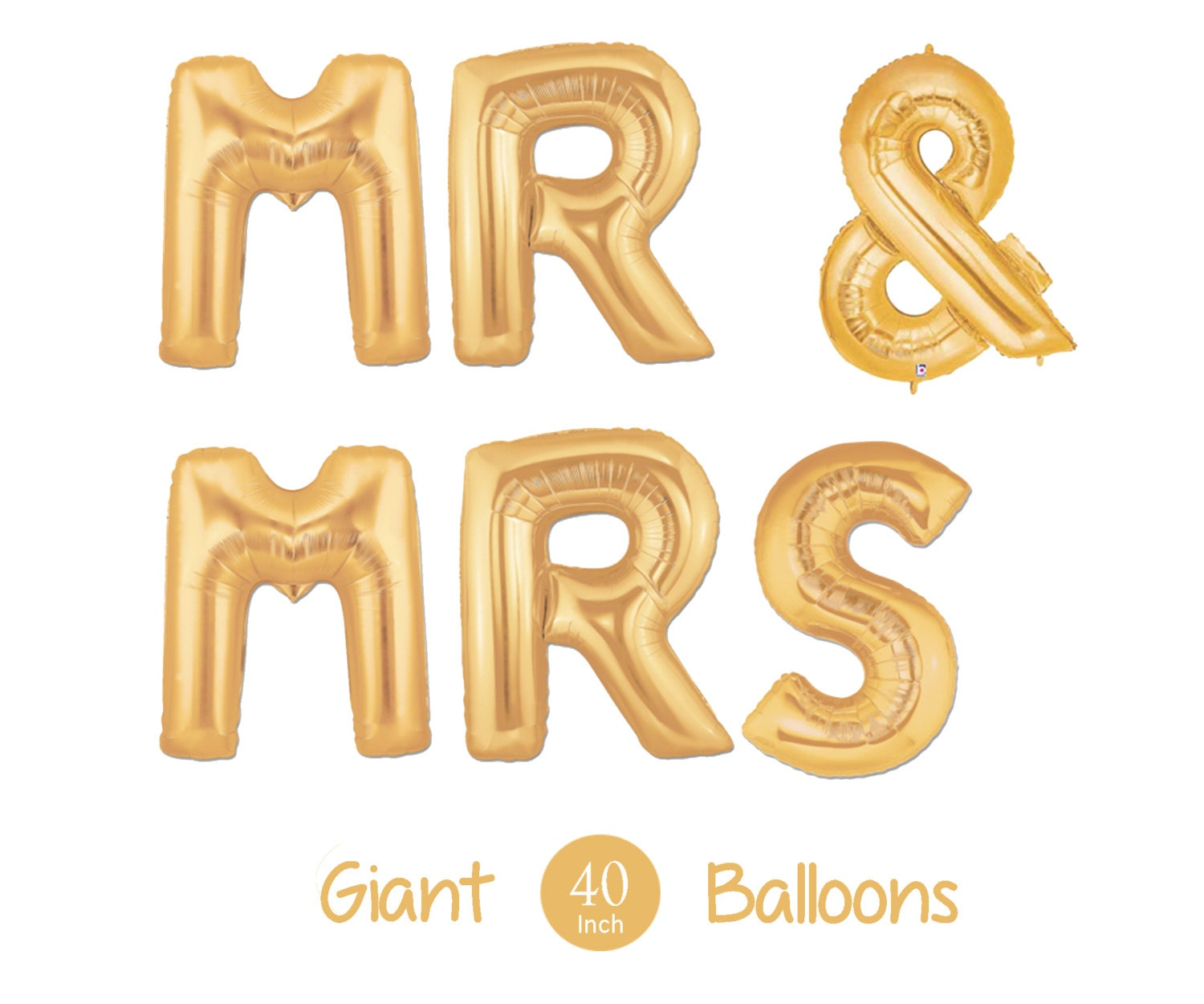 Giant mr and mrs balloons 40quot inch gold mylar balloons for Mr and mrs letter balloons