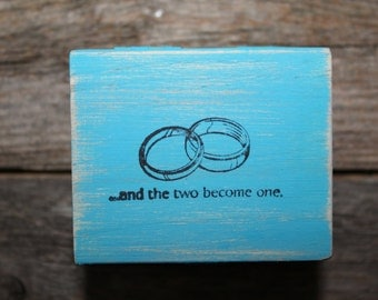 Turquoise Ring Bearer Box, Rustic Ring Box, Wedding Ring Box, Wooden Box