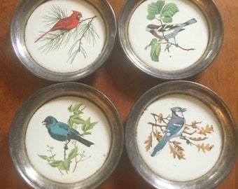 Bird Coasters Porcelain with Silver Plate Rims Sheridan Silver