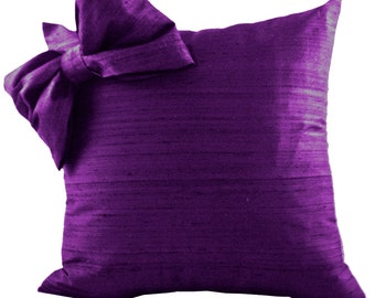 Purple SILK Throw Pillow Cover with Bow for Couch or Pillow for Sofa and Chair, 18x18, 20x20