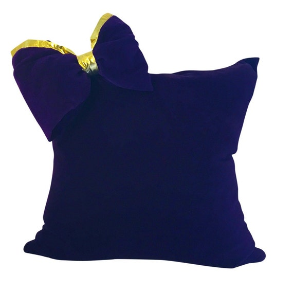 Purple And Gold Velvet Pillow With Bow For Sofa Couch Or