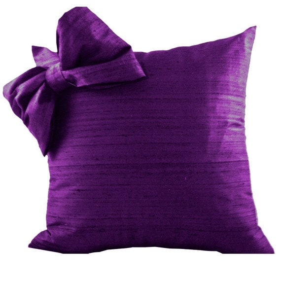 Purple Silk Throw Pillows : Purple SILK Throw Pillow Cover with Bow for Couch or Pillow