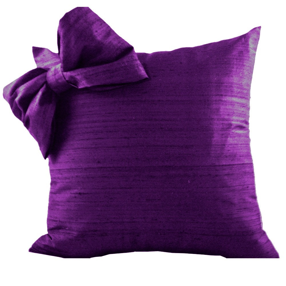 Throw Pillow With Bow : Purple SILK Throw Pillow Cover with Bow for Couch or Pillow