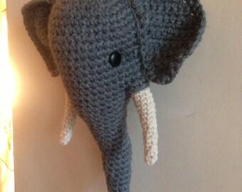 Crochet Wool Mounted Stuffed Trophy Head Elephant Wall Hanging