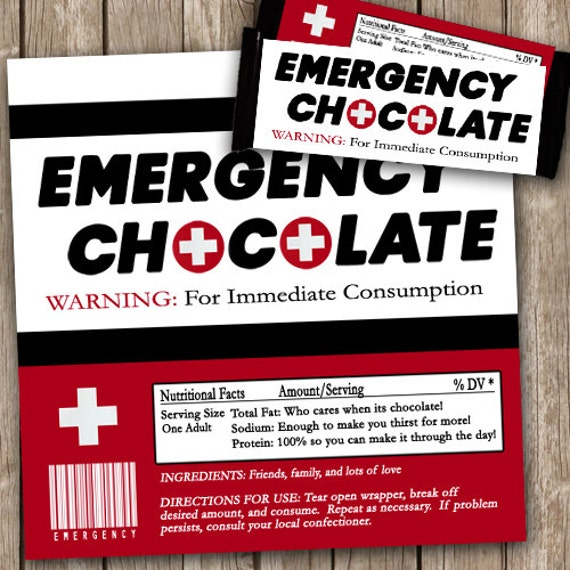 emergency chocolate candy wrappers emergency chocolate