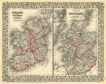 Map of Scotland, and Ireland 1873 Vintage reproduction.