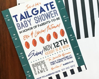 Football Baby Shower Invitations, Tailgate Party Invites, Gender Neutral Baby Shower, Printed Invitations, Tailgate Baby Shower, NFL