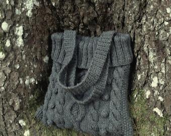 Knitted Bag, Knit Bag, Handbag, Bag, Hand Knitted Bag, Women Bag, Grey Knitted Bag