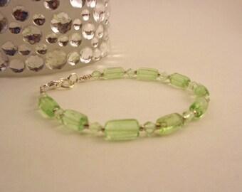 Peridot Glass Bead Bracelet
