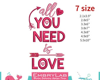 Machine Embroidery Applique Design Valentin Lettering All You Need Is Love (16089)