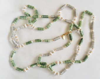 Very long Lariat Necklace Lanvin 164 cm vintage green tubular beads white and gray