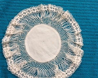 Beautiful Delicate Circular Cotton & Crotcheted Lace Dressing Table Mat With Damask Fabric Centre and Lace Edge Trim. Very Pretty Item.