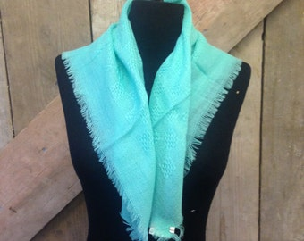 1970's Vintage Aqua/Blue/Green Knitted Textured Pure Wool Scarf - Perfect condition with tags