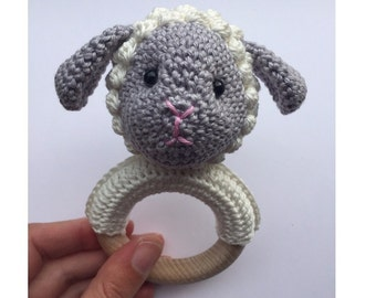 Rattle with crocheted Sheep