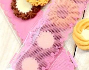 Cookie Bags-Lace Cookie Bags-Pink Cookie Bags-Candy Bags-6cm x 20cm Cookie Bags