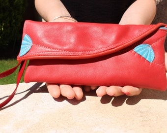red flower sleeve turquoise