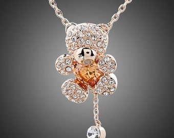 Rhinestones and Heart Shape Zircon Bear Necklace, Valentines Day Gift for Her, Anniversary Gift, Birthday Gift for Her