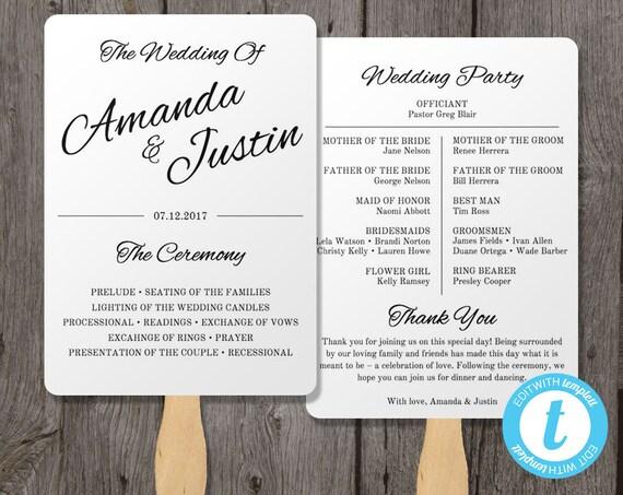 printable wedding program fan template fan wedding by
