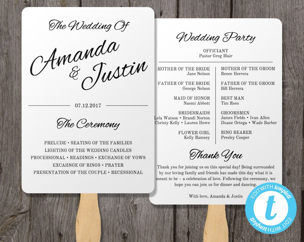 Printable wedding program fan template fan wedding by youprintem for Wedding program fans templates free