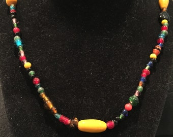 """Moroccan Glass Bead 36"""" Necklace - CA 1950's - Item NK127"""