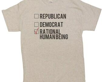 Men's Funny Political Republican Democrat Rational Human Being T-Shirt