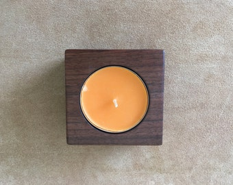 Large walnut tea candle holder