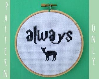 "Harry Potter Cross Stitch Pattern -- ""Always"" with Doe"