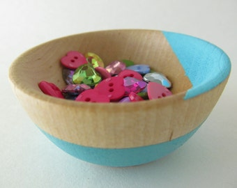 Sewing notions, jewelry, beads, rins, earrings, salt pinch Wooden bowl- Hand painted - Comes in 40 different color choices