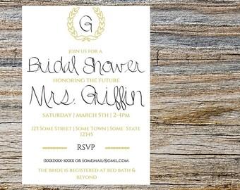 Initial Bridal Shower Invitation, Digital Download, Invitation
