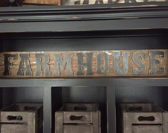 Rustic FARMHOUSE Sign on Reclaimed Barn Wood - Rustic, Modern, Handmade, House warming gift, Wedding Gift, Present