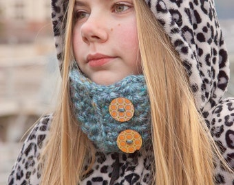 Tunisian Winter Cowl Heather Blue with Buttons