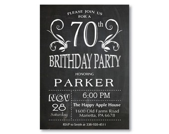 70th Birthday Invitation for men or women. Chalkboard 40th 50th 70th 80th 90th Any Age. Black and White. String Lights. Printable Digital.