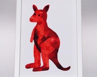 Kangaroo print, Custom colours, Kangaroo art, Kangaroo nursery decor, Childrens decor, Paper collage art, Cute animal art, Kangaroo nursery