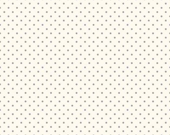 Gray Swiss Dots on Cream Le Creme - Riley Blake Designs - Polka Dot - Quilting Cotton Fabric - by the yard fat quarter half