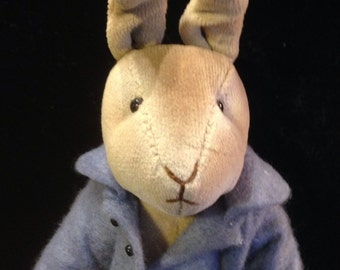 Sennebec workshop hand crafted velvet and felt plush rabbit toy.1987
