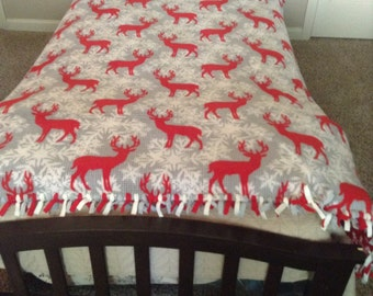 Unique Handmade No Sew Deer and Snowflake Christmas Blanket