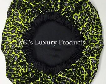 Green Leopard Print Bonnet